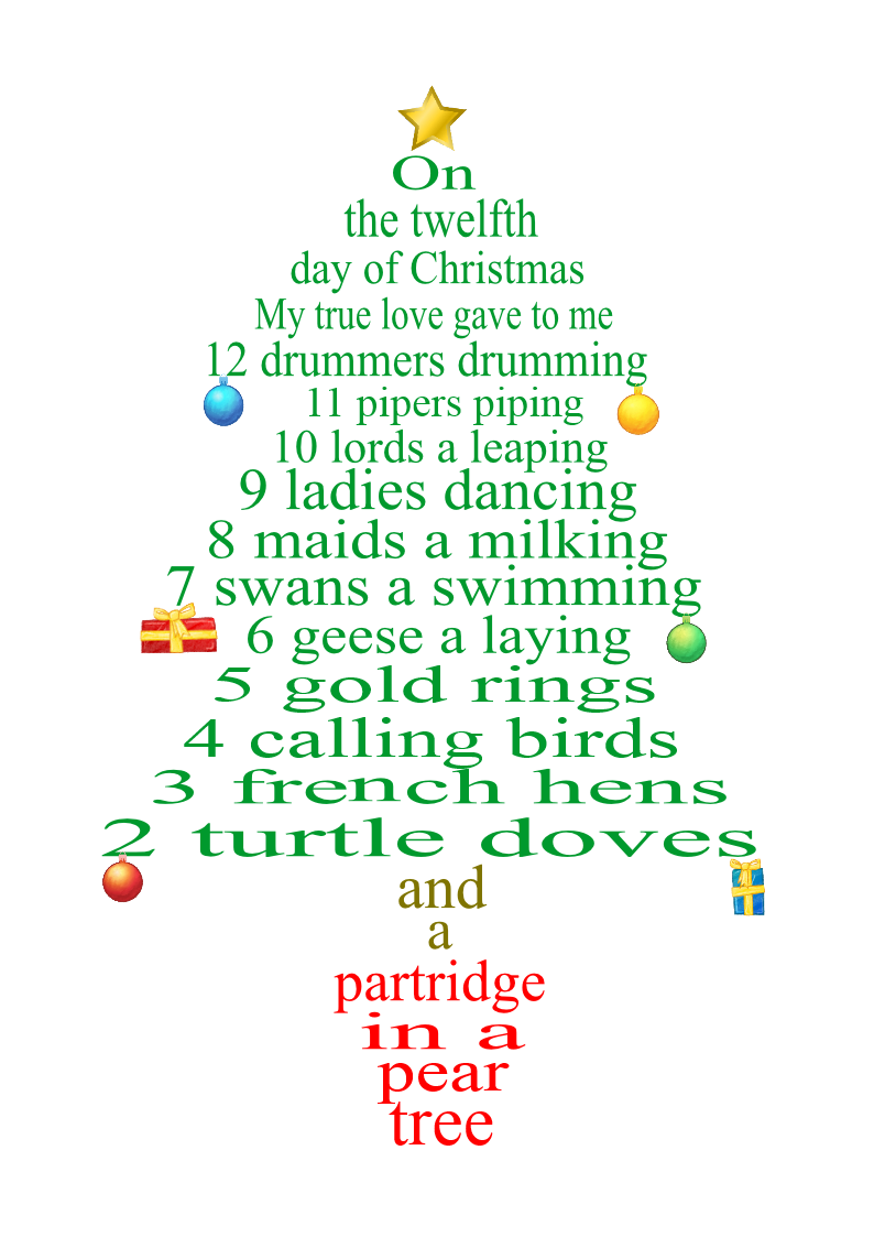 12 Days Of Christmas Lyrics.12 Day Of Christmas Lyrics As Tree Decorations